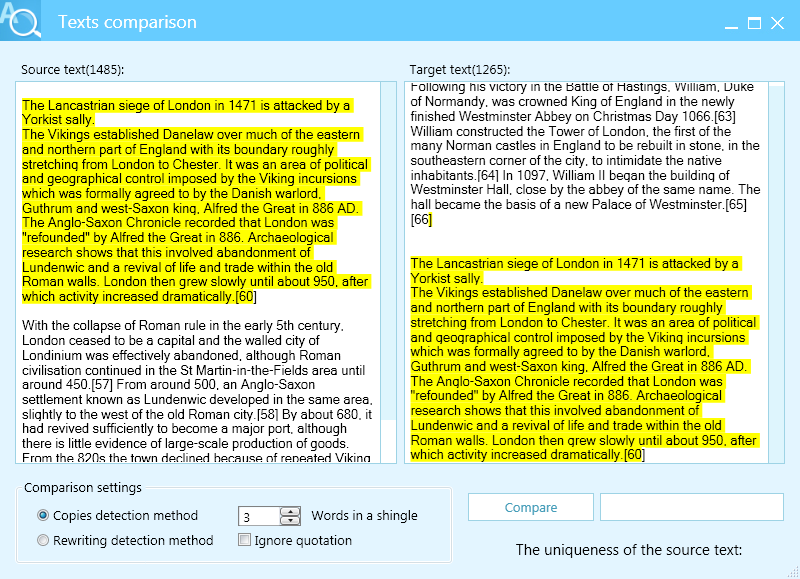 compare two pdf files for plagiarism